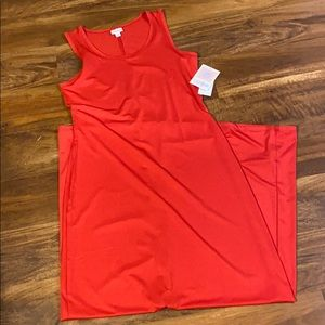 Red Sleeveless Lularoe Dani Maxi Dress